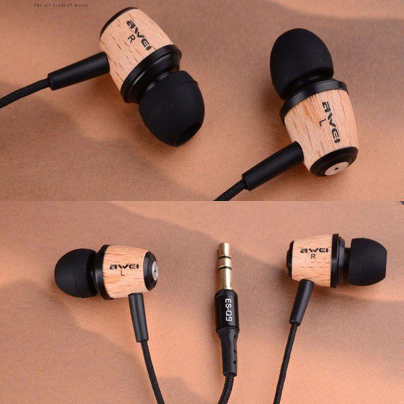 AWEI Q9 Super Bass Wooden in Ear Headphones Earphones Headset For 3.5mm Jack Hot Sale