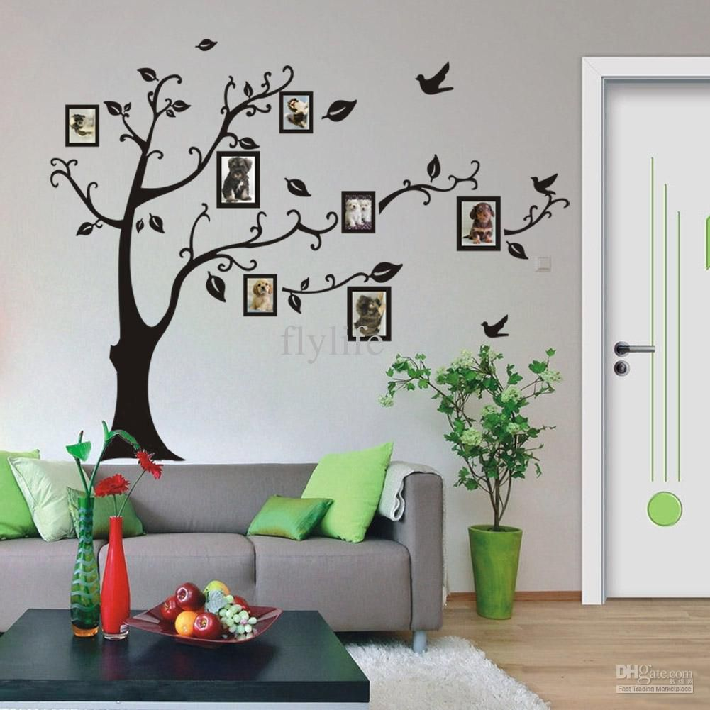 Vinyl Black Photo Frames Tree Art Wall Stickers Removable Wall Decor Decals for Living Room, for Nursery Kids Bedroom
