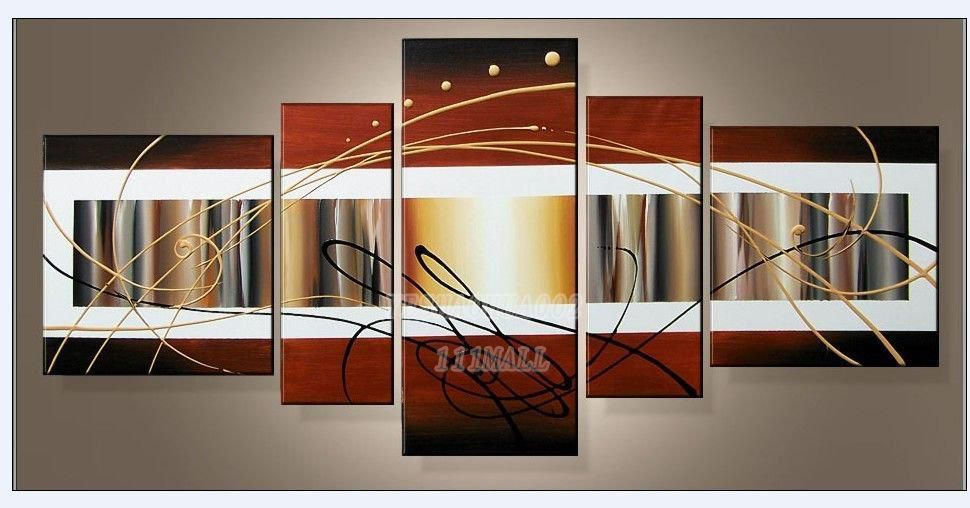 oil paintings canvas abstract wall art Oil Painting Natural scenery 5pcs/ set POP Modern home decoration art free shipping C209