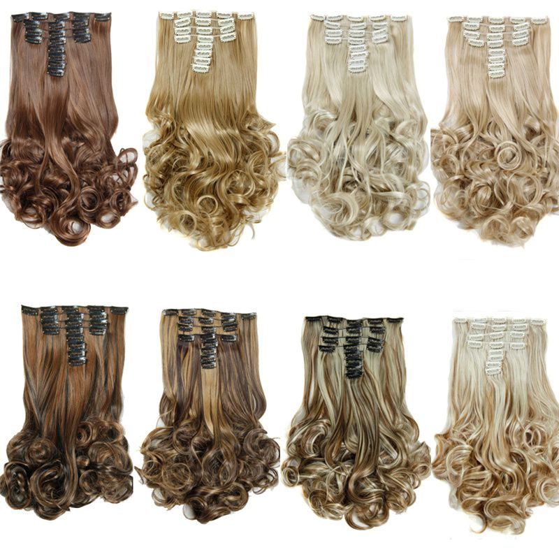 8pcsset Synthetic Clip In Hair Extensions Curly Hair Pieces 20inch