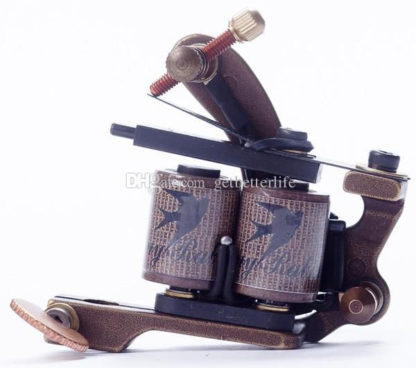 2pc/Lot New Danny Brass Tattoo Machine Gun shader&liner 10 12 Wrap Coils Equipment Set with 2pc beatiful packing box MCC0102 Supplies