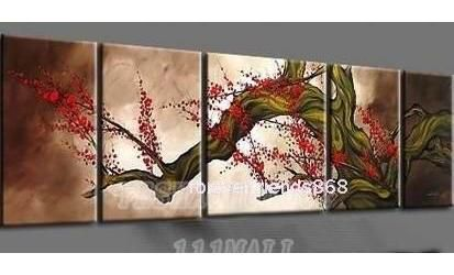 oil paintings canvas abstract wall art Oil Painting Natural scenery 5pcs/ set POP Modern home decoration art free shipping C207