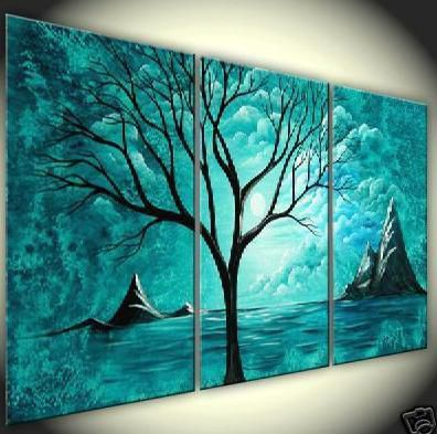 abstract landscape oil painting on canvas art oil paintings modern home decoration wall pictures blue tree hill hot sale