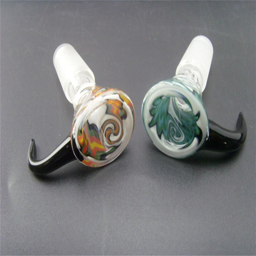 Bent Heady Colored Glass Bowls Pieces Water Pipes Bongs Accessories with 14mm 18mm Male Joint Hookahs Glass Bong Bowl 100% Top Quality