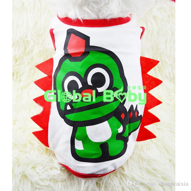 (10 Pieces/Lot) Cotton Dinosaur Styles Dog Pet Teddy Vest T Shirts Drop Shipping