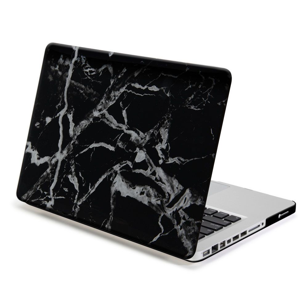 Full Body Protection White Marble Printing Hard Laptop Sleeve Case Cover for Apple Macbook Pro 15 Black marble pattern computer protective