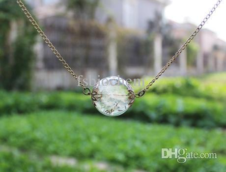 15pcs 25MM Real Flower Dandelion Seed Necklace-Dandelion Necklace -Make A Wish -Glass Bead Orb Transparent Round Beadwork-Specimen necklace