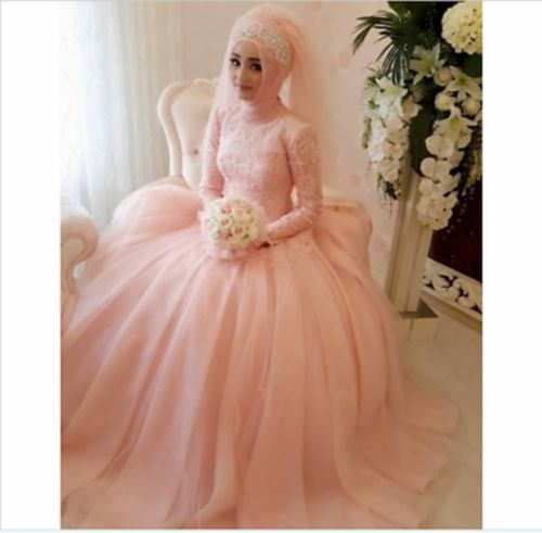 Long Slevees Vintage High Neck Long Sleeve Pink Lace A Line Muslim ...