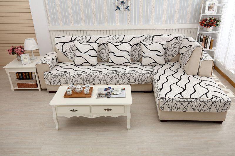 2018 new kind 100%cotton cartoon sofa skidproof sheet four seasons of living room