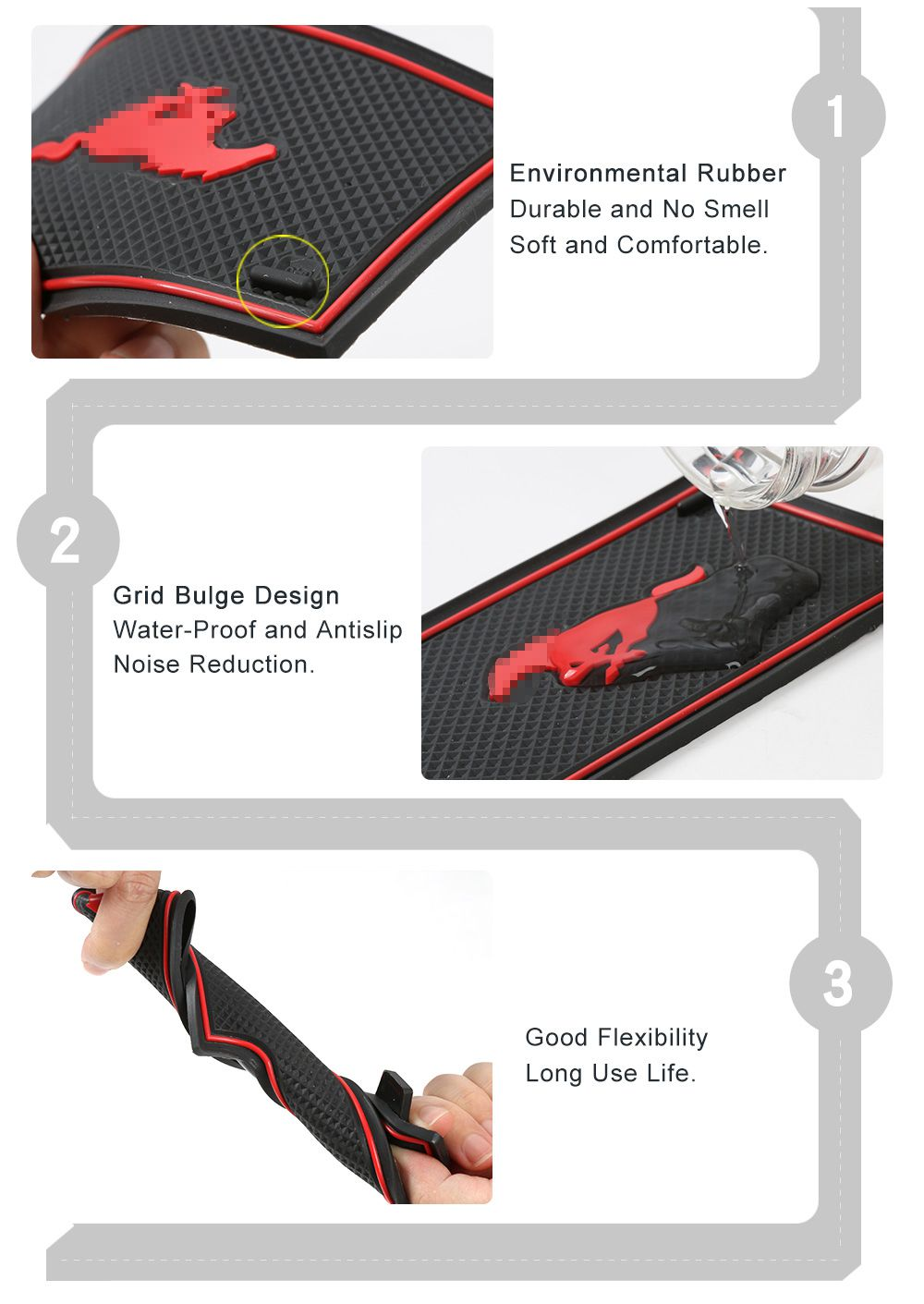 Door Slot Car Rubber Door Gate Slot Mat Cup Pad Non-slip For Ford Mustang 2015-2016 Auto Interior Accessories