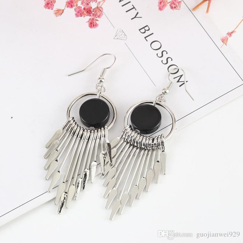 Long - style Tassel Earrings Contracted Temperament Retro Fashion Earrings Two Color for Chioce Gold and Silver Free Shipping