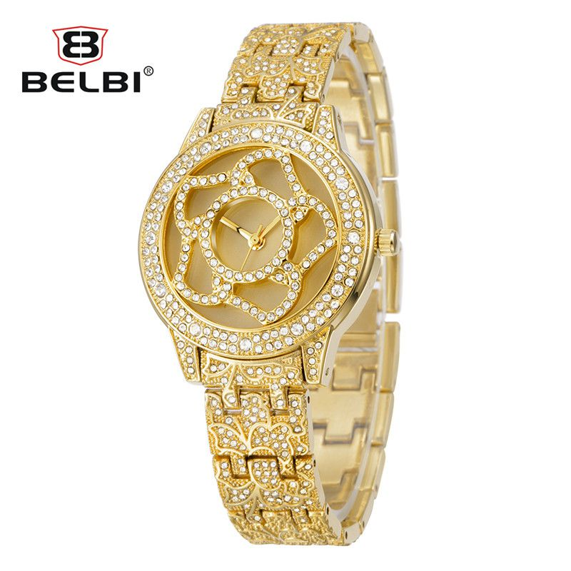 Waterproof Japan Movement Luxury Wrist Watches Brand Name BELBI Japan PC21 Gold, Silver Two Color for you