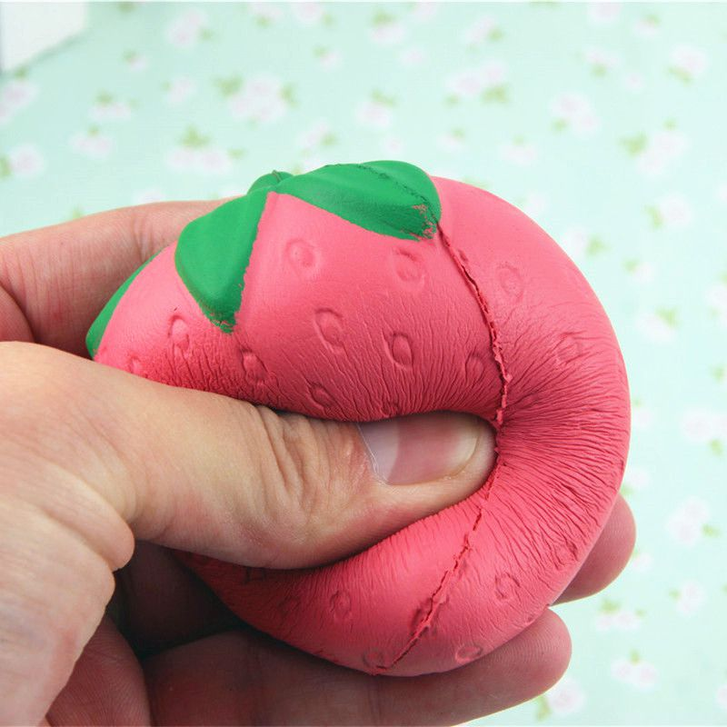 Strawberry Squeeze Toys Anti-Stress Decompression Novelty Gag Toys Pressure Stress Reliever Slow Rising Colorful Squishy Squishies Red Pink