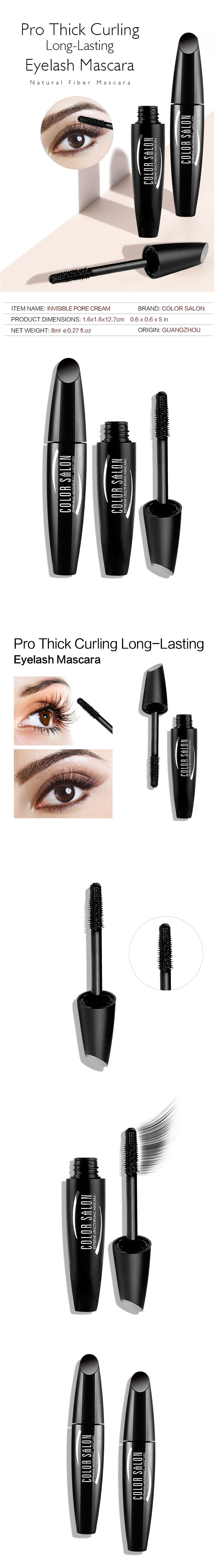 Color Salon Pro Thick Curling Long-lasting Eyelash Mascara Natural fiber Mascara 8g Waterproof Eyelash Brand Eye Lashes Beauty