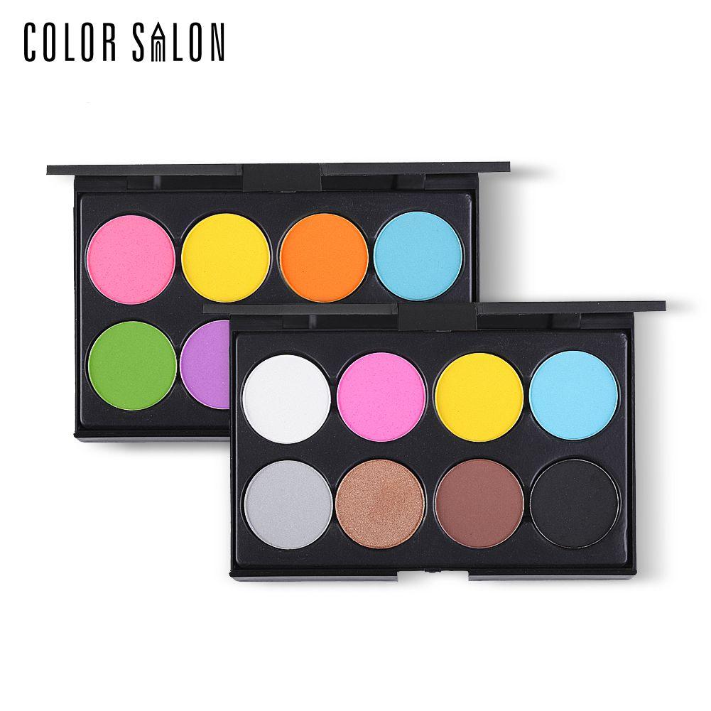 Color Salon 8 Colors EyeShadow Set Cosmetics Eye Shadow Palette Easy Wear for Women Pro Makeup Tools Long Lasting Warm Pigmented Eye Shadow