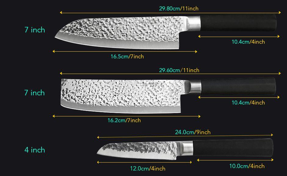 Myvit kitchen knife Set 3PC Japanese Style Kitchen knife Meat Cleaver Fruit Paring knife stainless steel Chef Knife
