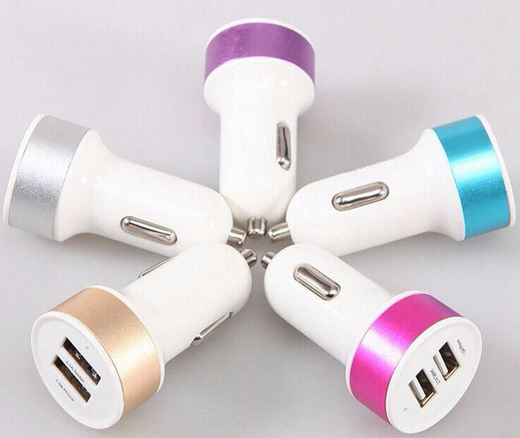 Aluminum 3.1A Dual USB 2 Port Car Charger Adapter For Tablet Ipad Iphone5 6 6Plus Samsung S6edge Note4 Note3 All Smart Phone