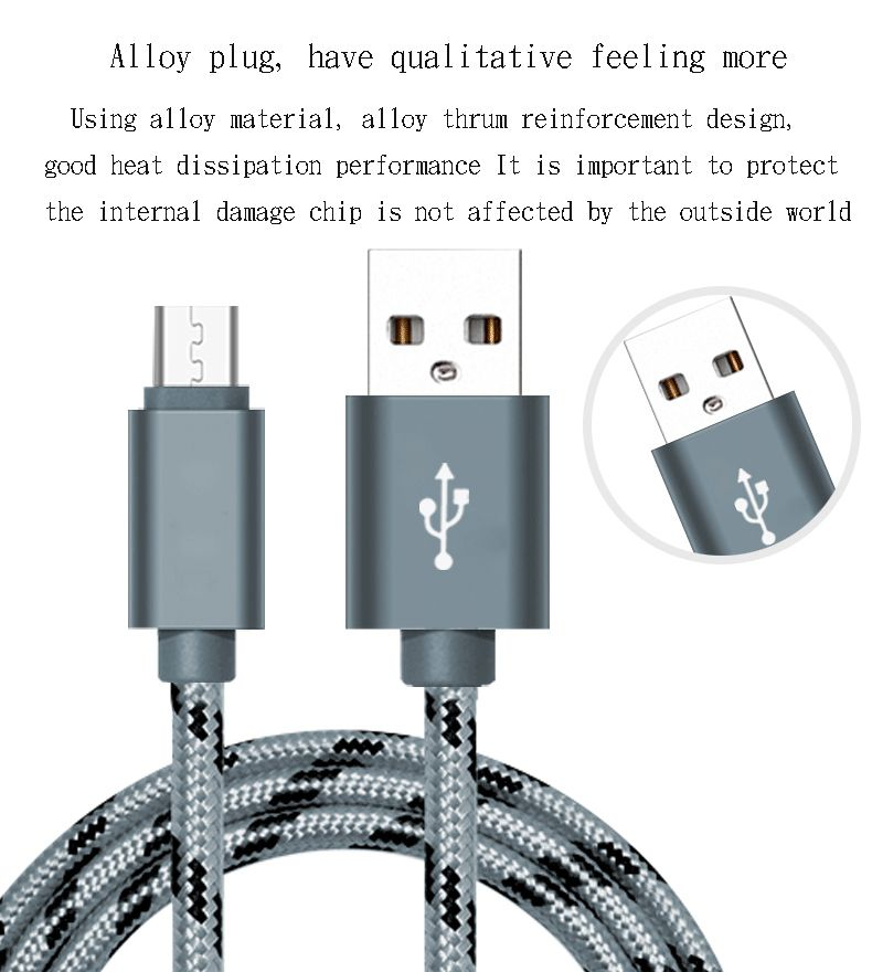 2017 new USB cable, 1 meters nylon braid, synchronous and charging cable for Android, (gray)