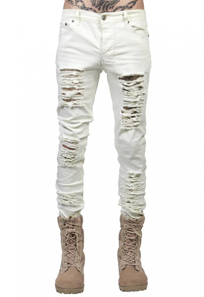 men's jeans ripped jeans for men skinny Distressed slim famous brand designer biker hip hop swag black slim pants