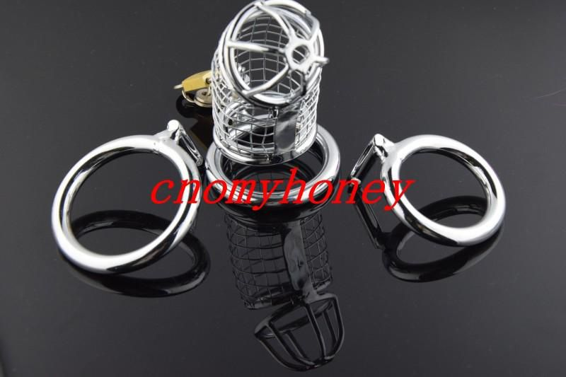 new male bondage lockable stainless steel cock cage penis ring cage,silver color dildo cage rings, sex toys for men, free shipping