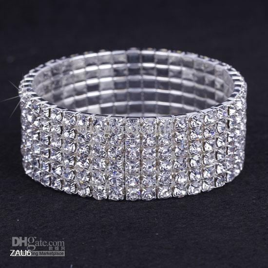 New Clear Rhinestone Elastic Bracelet Jewelry Wedding Stretchy Crystal Bangle Wristband
