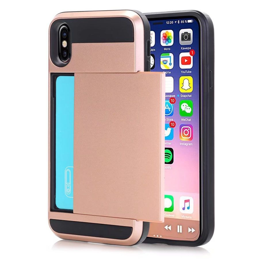 Luxury Slim Hybrid Credit Card Pocket Wallet Pouch Phone Case For iPhone X 8 7 6S Plus Sumsung Note 8 S8 Plus Cases