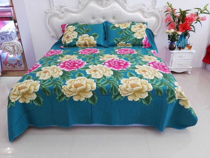 2018 new style 100%cotton pastoralism quilting flowers four-piece of bed cover set