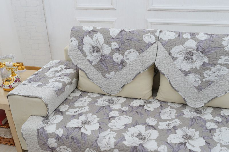 2018 new kind hot sale 100%cotton peony blow for four seasons of sofa cover set bay window cushion