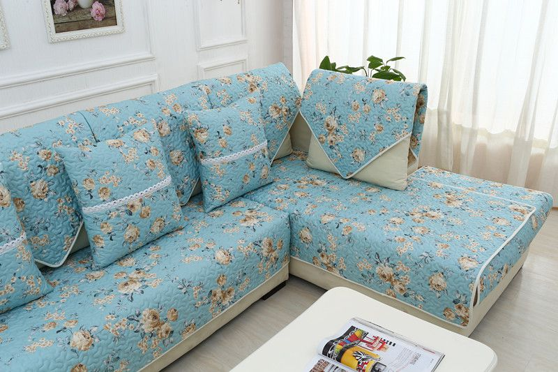 2018 new kind hot sale 100%cotton blue skidproof living room four seasons of sofa cover set