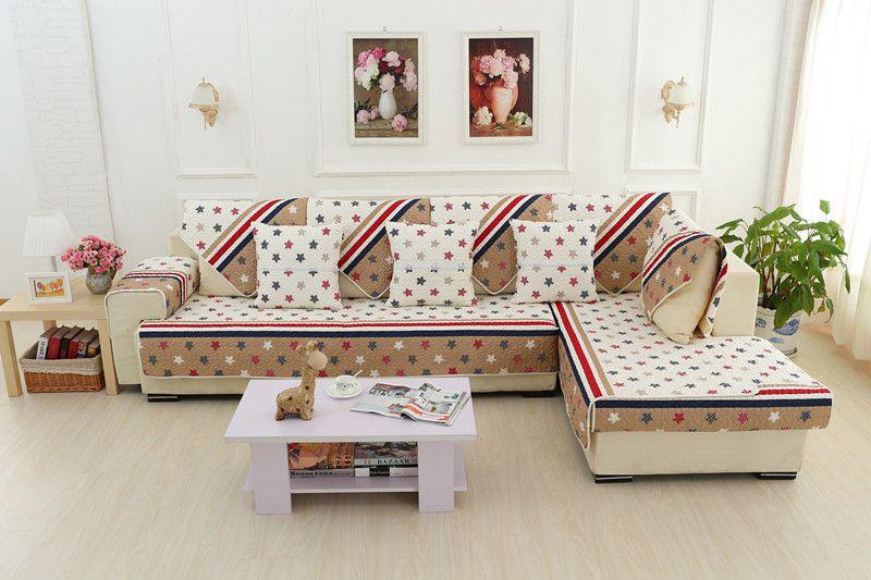 2018 SUPRIA100%cotton stars Article skidproof living room four seasons of sofa cover set bay window cushion