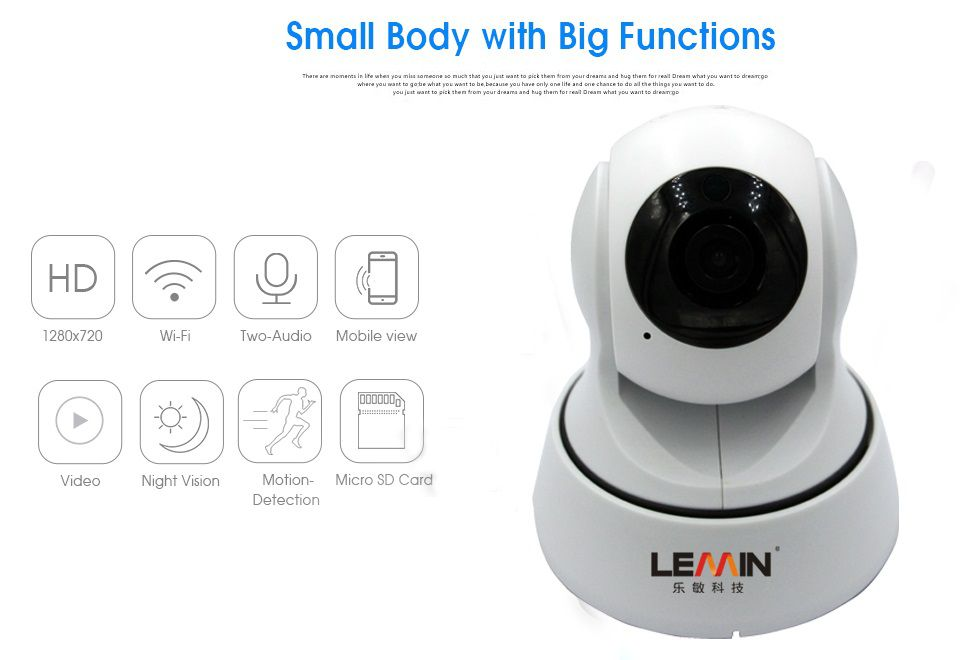 New !LEMIN Pan Tilt Wireless IP Camera WIFI 720P CCTV Home Security Cam Micro SD Slot Support Microphone & P2P Free APP ABS Plastic