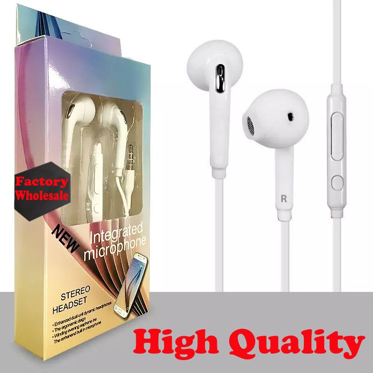2018 High Quality Earphone For S6 Earphones Earbuds Headset In Ear wired With Mic Volume Control 3.5mm With Retail Box Free Shipping
