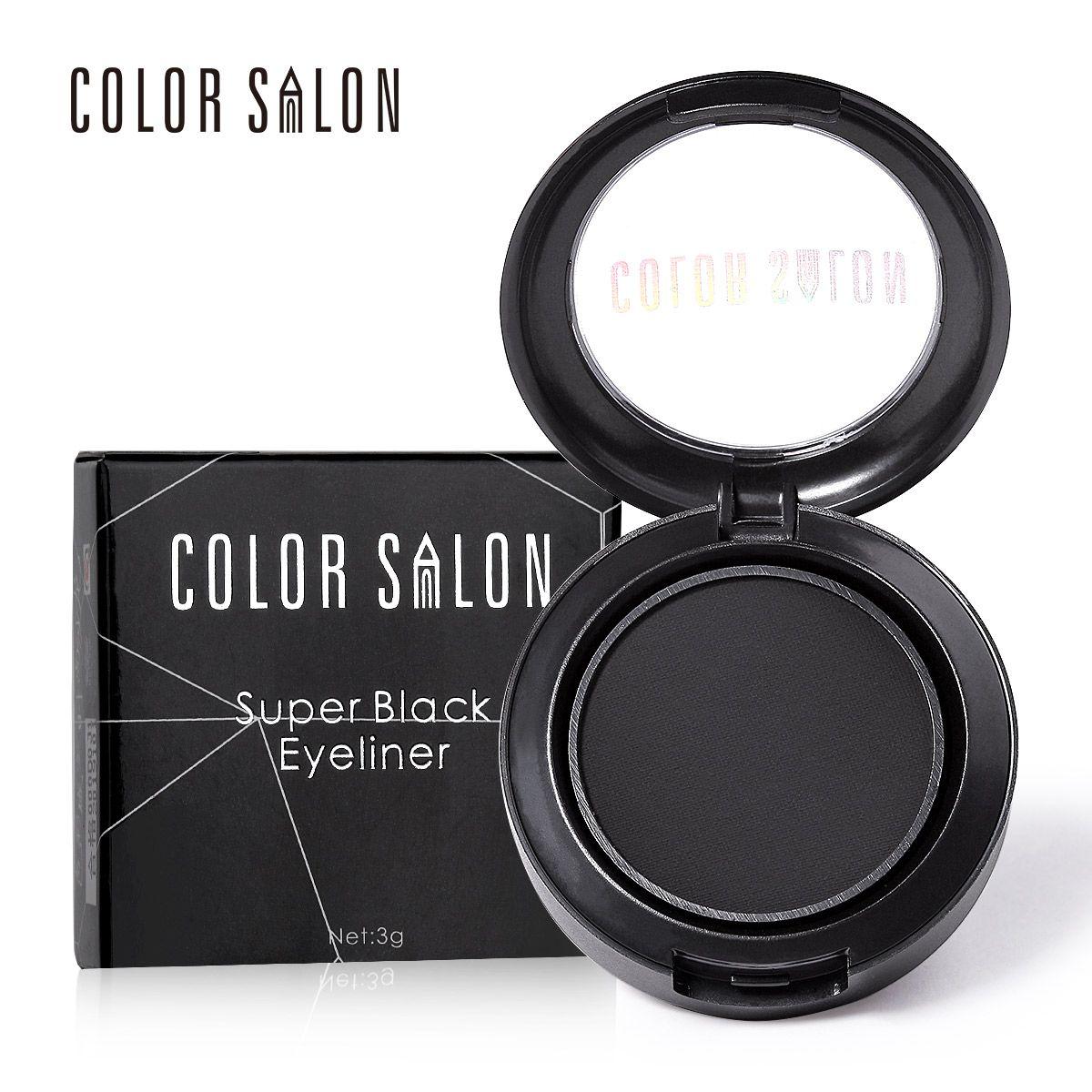 Color Salon Black Eyeliner Powder Long-Wear Eyeliner Gel With Brush 24hours Waterproof Sweat Not Blooming Smudge proof 3g