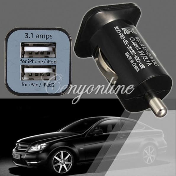 Universal Mini AC 3.1A 12V 24V Dual 2 Port USB Car Auto Charger Adapter For iPhone 5 4S For iPad 4 3 Mini For Samsung Galaxy S4 order<$18no