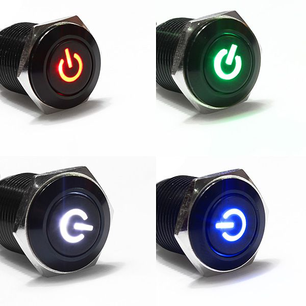 16mm Hole 12V LED Metallic Car Angle Eye Power Push Button Switch Latching Type order<$18no track