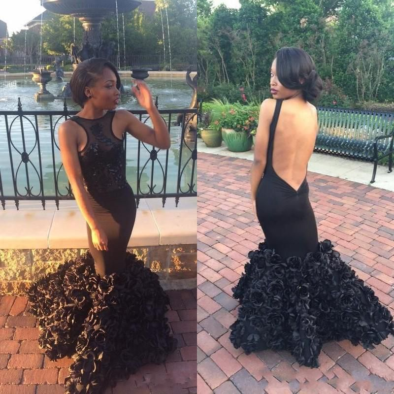 2018 New Black Girl Prom Dresses Sleeveless Sexy Backless Lace