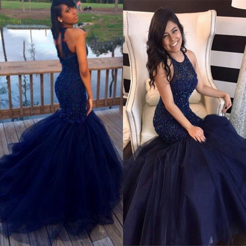 Mermaid Beaded Bridal Sexy Royal Blue African Tulle Prom Dresses