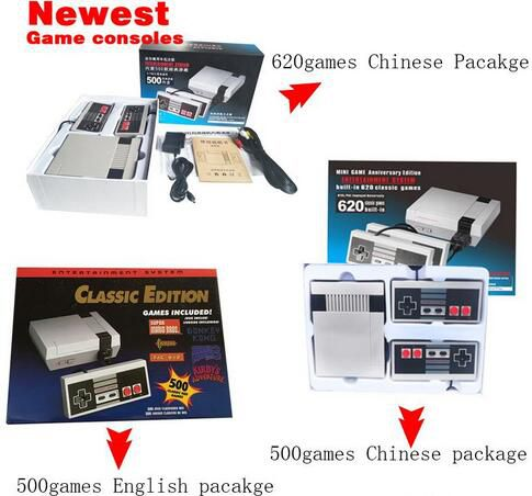 2017 New Mini TV Handheld Game Console Video Game Console For Nes Games with 500/ 620 Built-in Games PAL&NTSC with retail box