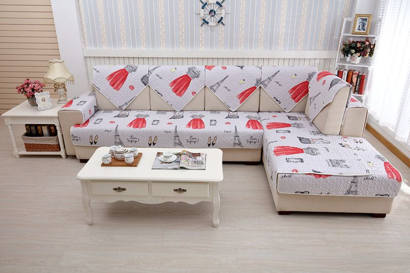 2018 new kind 100%cotton simple skidproof combination sofa cover set