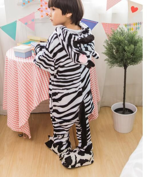 Children warm pajamas Sets Zebra Autumn Winter Girls Boys Flannel Animal pajama one piece Hooded for Kids Sleepwear KD-009