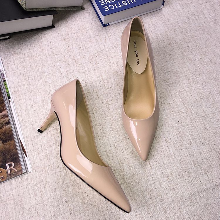 Women Brand New Fashion High Heels Sexy Pointed Toe Design Pump Shoes Spring Summer Autumn Genuine Patent Cow Leather Shoes