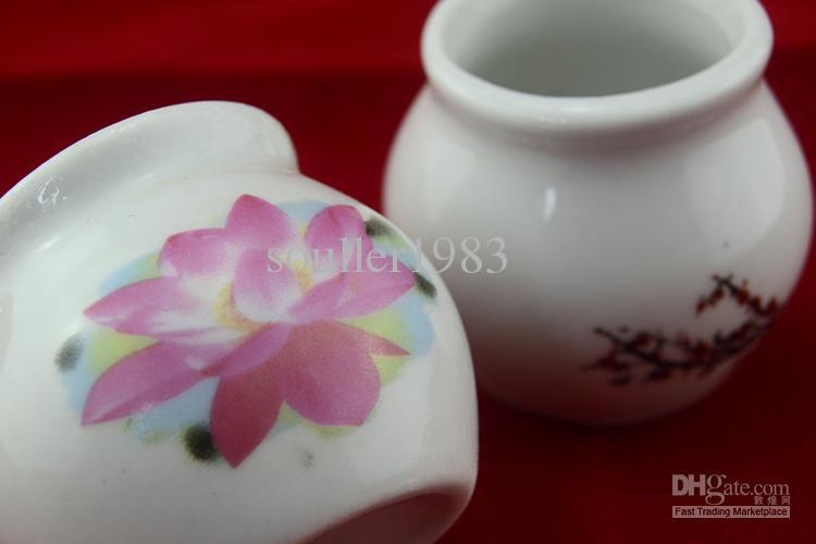 Circular Chinaware Ceramic Crysta.l Bowl Cup Acrylic Liquid Dappen Dish with Cover Nail Art Tool T434