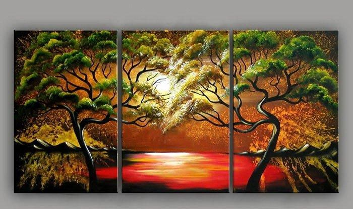 Red river green tree wall deco Art handmade abstract oil painting on canvas modern original directly YE01