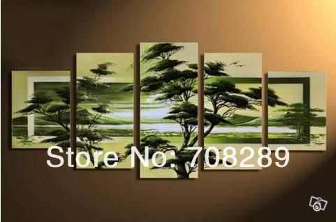 oil paintings on canvas green tree red black white home decoration Modern abstract Oil Painting wall art 5pcs /set 222