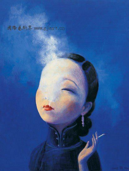 smoking sexy girl LuiYe Chinese painter Modern art oil painting Satire wholesale abstract paintings pictures portraits blue 020