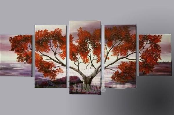oil paintings canvas abstract wall art Oil Painting Natural scenery 5pcs/ set POP Modern home decoration art free shipping C227