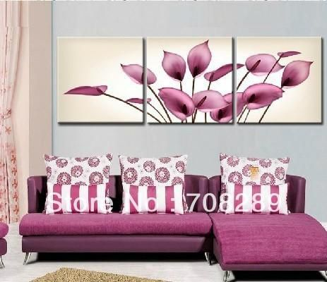 purple pink flowers calla lily hand-painted oil paintings Modern decoration wall art painting canvas Discount frameless picturs
