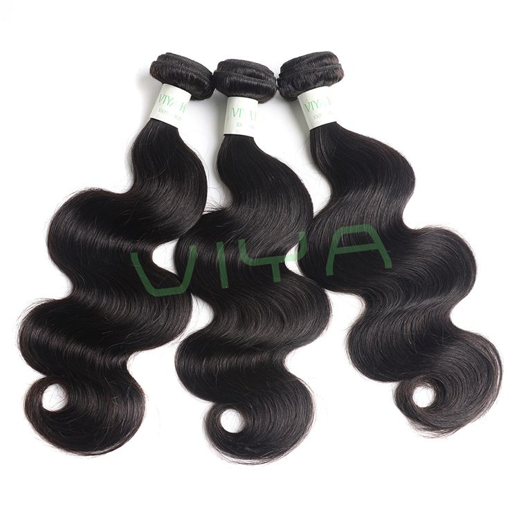 VIYA Brazilian Body Wave Virgin Hair Weaving 3 PC Inch Natural Color Unprocessed Human Hair 905C