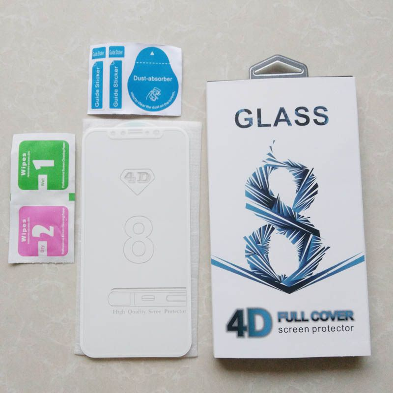Top quality For iPhone 8 Tempered Glass Front Screen Protector Film Full Cover 4D hard Curved Titanium Edge Film Full Coverage