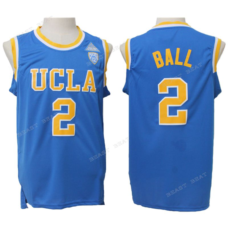 93025208100 Cheap and affordable basketball jerseys, Ball, UCLA, #2, white, blue,  embroidered bas.